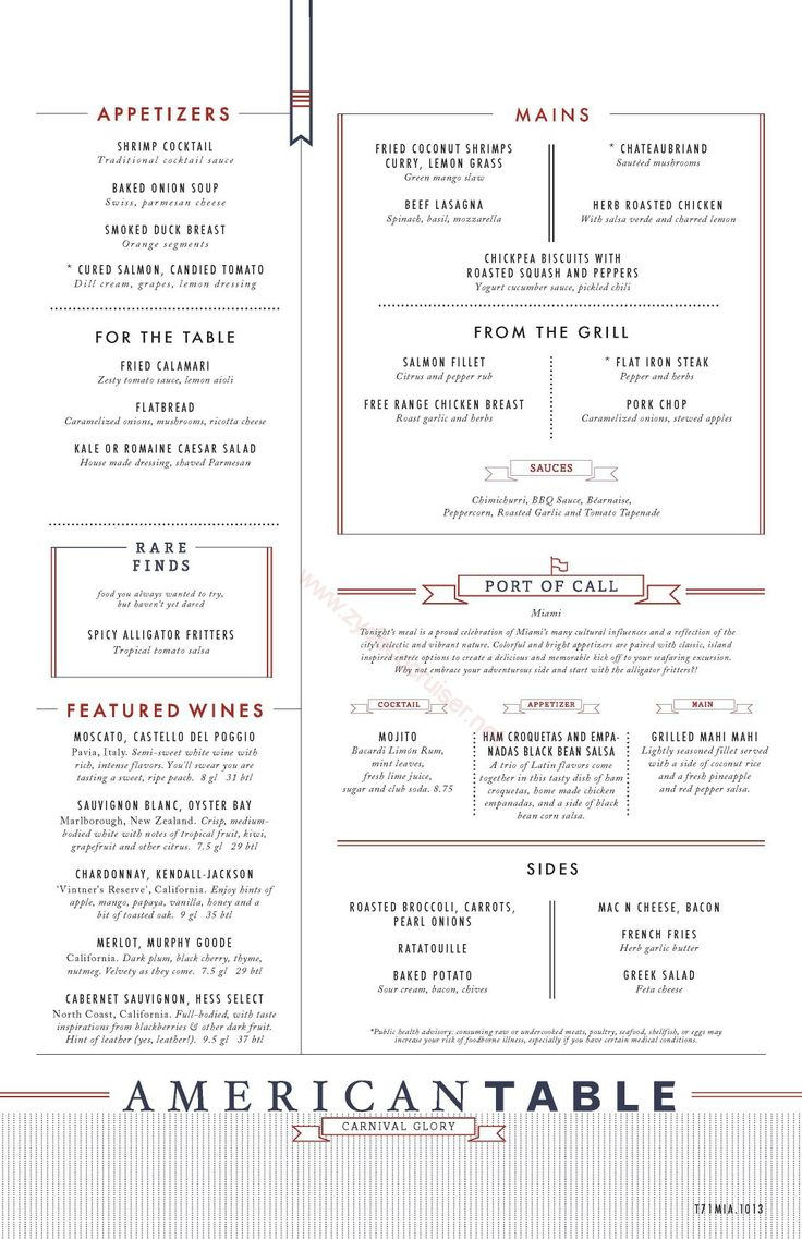 Westerns carnivals and miami on pinterest for The table restaurant menu