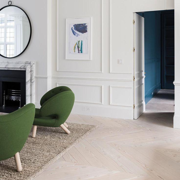 Wide plank flooring - Douglas in chevron pattern by Dinesen