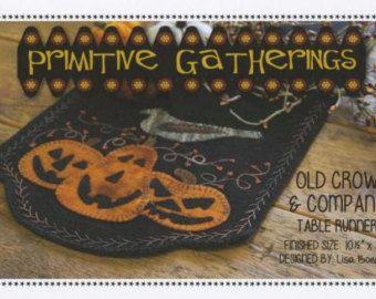 Viejo Cuervo y compañía calabaza de Halloween otoño lana patrón primitivo reuniones