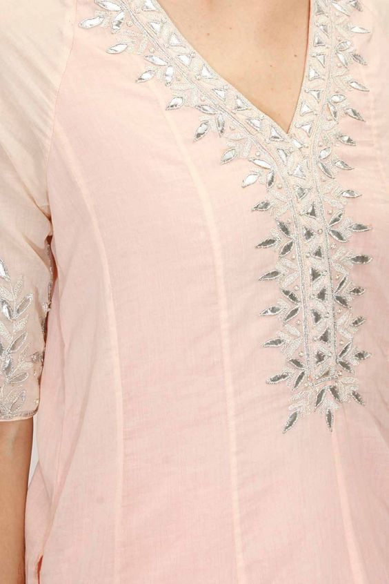 Peach embroidered kurta with sharara pants available only at Pernia's Pop-Up Shop.: