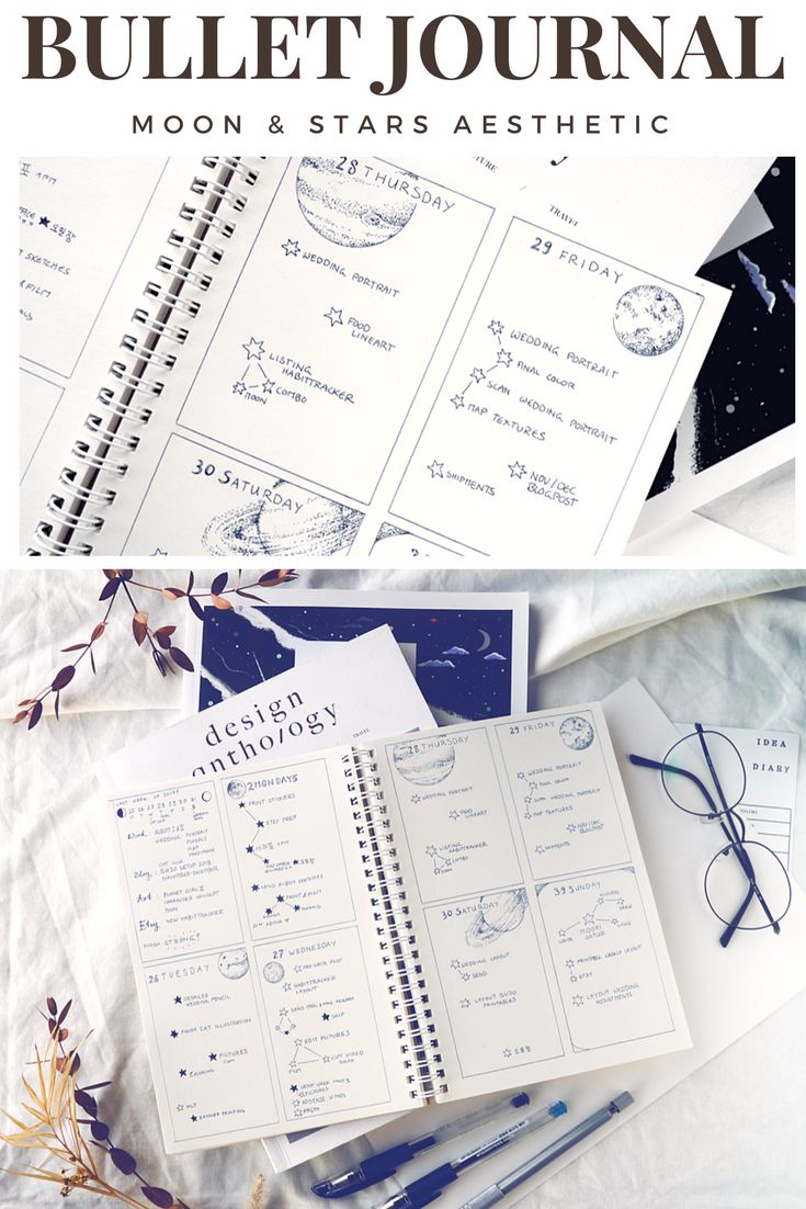 Bullet journal ideas for anyone that wants both minimalism and whimsical doodles: A moon & stars inspired month in my bujo, with weekly layouts, habit trackers, and project planning spreads, all in the same outer space aesthetic. I love the simplicity of the weekly layouts combined with the intuitive to-do lists, especially! Hope to inspire you for your own bullet journal setup.