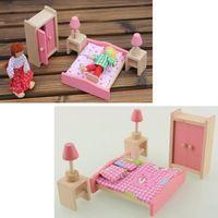 Деревянная кукла мебель для спальни комната миниатюрный для детей ребенок игра игрушка в подарок бесплатная доставка
