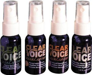 Clear Voice Vocal Spray Pina Colada by Clear Voice. Save 42 Off!. $6.99. Clear Voice vocal spray is comprised of an innovative blend of herbs designed to keep your airways open and your mouth and throat moist. It offers relief from fatigue and dry and scratchy throat.Contains marjoram osha aloe vera and tylophora suspended in sweetly flavored vegetable glycerin..