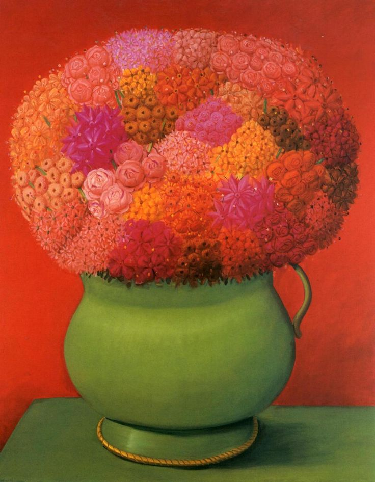 Flowers in red, Fernando Botero, 2006, oil on canvas