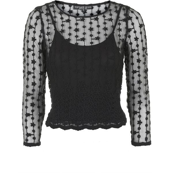 TOPSHOP PETITE Vine Embroided Mesh Top ($15) ❤ liked on Polyvore featuring tops, long sleeve tops, black, topshop, petite, black embroidered top, embroidered mesh top, topshop tops and black camisole top