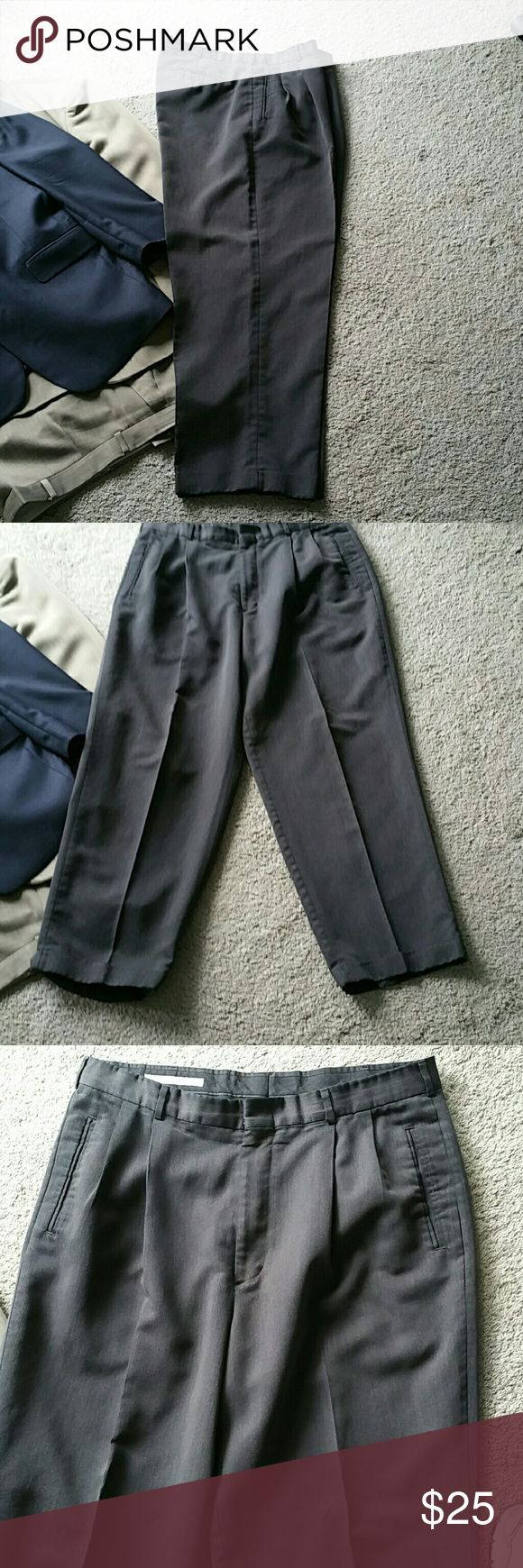 Charcoal gray Men's Dress Pants Pleated Pants,  36x30 Bundle with Shirts and Save! Perry Ellis Pants Dress