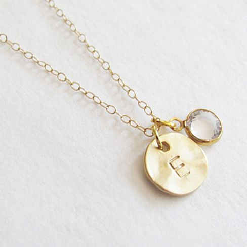 Beautiful 14k gold plated hammered coin and Swarovski charm necklace with initial of your choice.