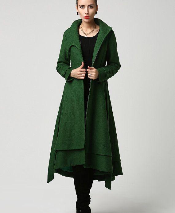Womens Long Dark Green Wool Coat 1112 от xiaolizi на Etsy