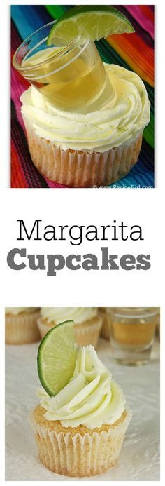 Margarita Cupcakes #recipe with (or without) a shot of tequila :) Recipe from RecipeGirl.com.