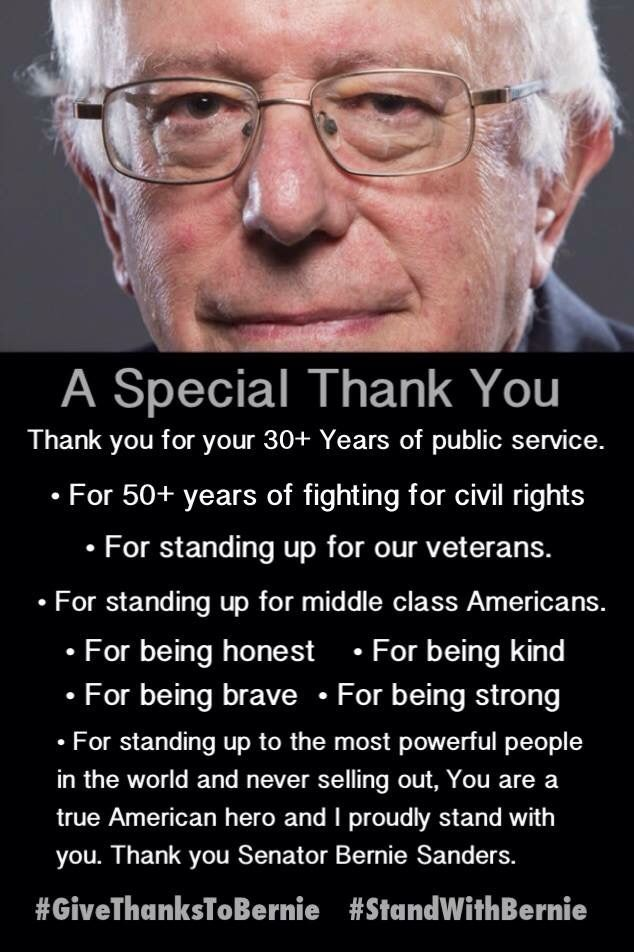 Thank you Bernie ! Join the Revolution ! Vote for Bernie Sanders 2016 President for the People #FeelTheBern