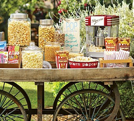 Popcorn bar - This will be perfect for Dinner and an outdoor movie!  tastethisplace.blogspot.com