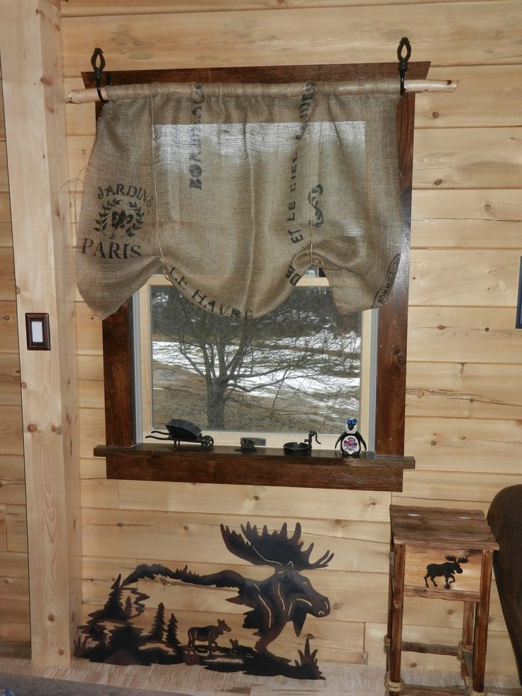 homemade burlap curtains diy burlap curtain valance new home ideas rustic decor pinterest. Black Bedroom Furniture Sets. Home Design Ideas