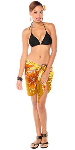 1 World Sarongs Womens Hawaiian Half/Mini Swimsuit Sarong in Browns. Classic Hawaiian themed floral sarong. Versatile for the a beach cover-up, a dress or a shawl. Composed of a top quality fringed lightweight rayon. Measures approximately 66 x 22 inches (168 cm x 56 cm). Color, size, and design will vary due to the handmade nature of this item.