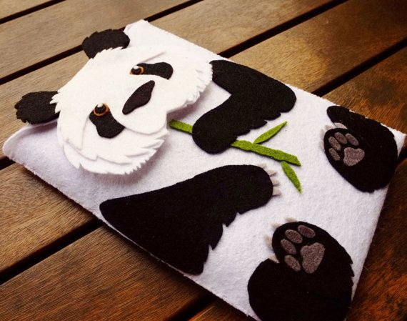 Panda Bear Tablet Case - iPad Case - Kindle Case - Handmade black and white felt case - iPad mini sleeve