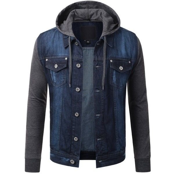 URBANCREWS Mens Hipster Hip Hop Button Down Long Sleeve Hooded Denim... (120 BRL) ❤ liked on Polyvore featuring men's fashion, men's clothing, men's outerwear, men's jackets, mens jackets, mens hooded jackets, mens denim jacket, mens button up jacket, mens hipster jackets and mens hooded denim jacket