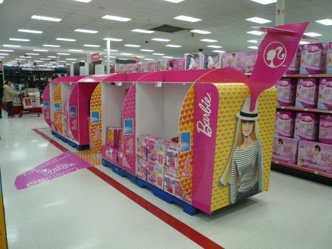 Retail Point of Purchase Design | POP Design | Toys & Games POP | Barbie Glam Jet Tail End