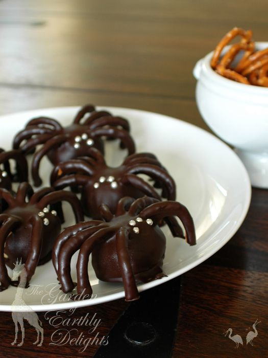 Chocolate Covered Peanut Butter & Pretzel Spiders - just peanut butter balls with pretzel legs covered in chocolate, but man do these look cool!