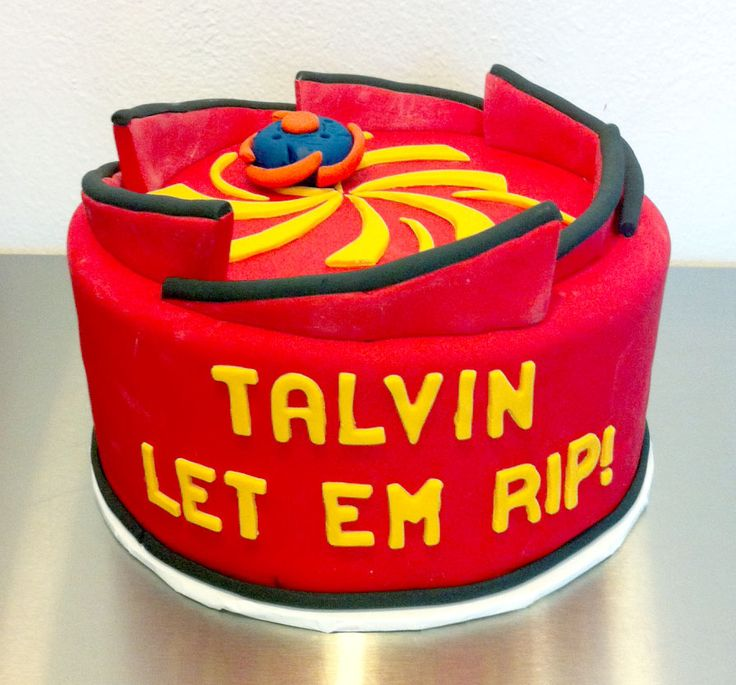 Talvin's Beyblade stadium cake.  Its what you want when you're 5.