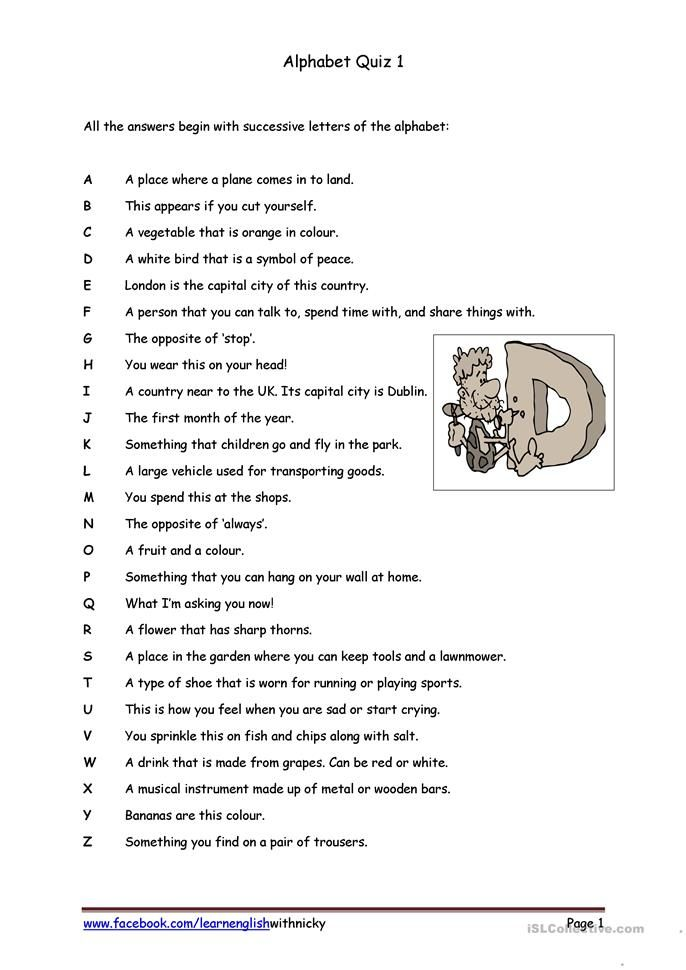 Alphabet Quiz 1 English Esl Worksheets For Distance Learning And Physical Classrooms General Knowledge Quiz Questions Quiz With Answers Quiz