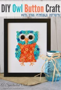 41 Easiest DIY Projects Ever - DIY Owl Button Craft - Easy DIY Crafts and Projects - Simple Craft Ideas for Beginners, Cool Crafts To Make and Sell, Simple Home Decor, Fast DIY Gifts, Cheap and Quick Project Tutorials http://diyjoy.com/easy-diy-projects