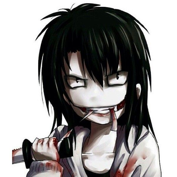 Jeff The Killer ❤ liked on Polyvore featuring anime, creepypasta, jeff the killer, backgrounds, people and filler