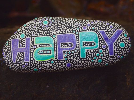 Happy Stone / Painted Rocks / Written on Stone Series / by mitsel8