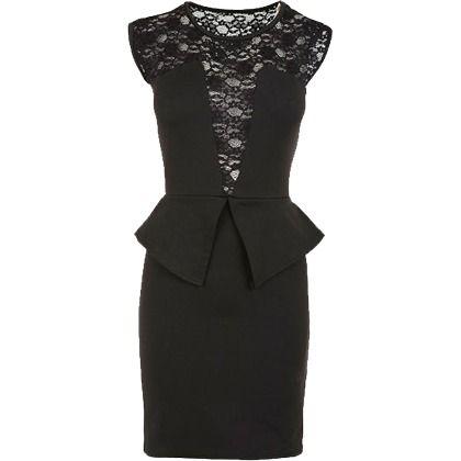 Lace Peplum Dress - Fashion Union