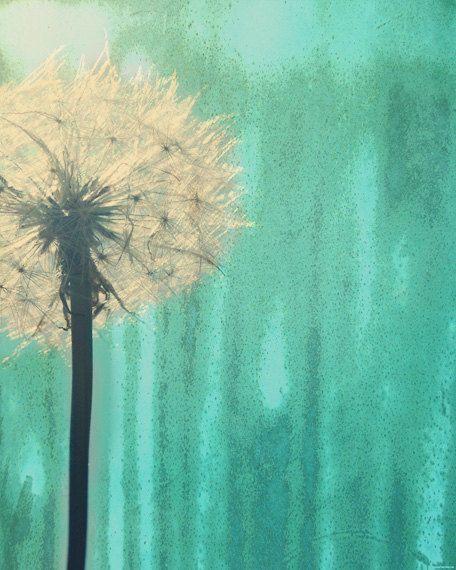 Dandelion Art Print - Aqua Green Nursery Childrens Room Home Decor Wall Flower Floral Surreal Photography. $25.00, via Etsy.