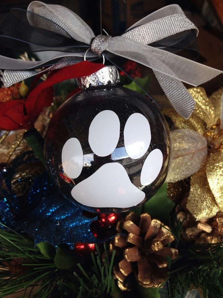Christmas Ornament Bulb, Dog Lover, Cat Lady, Animal Paw, Holiday Tree Decor