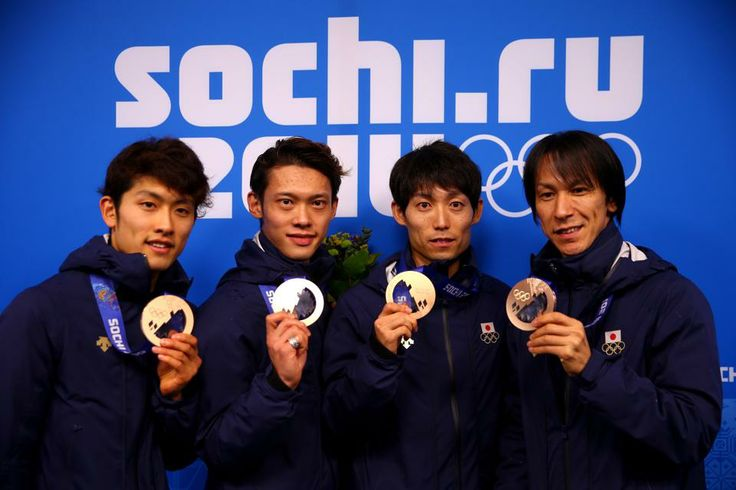 SKI JUMPING TEAM:  Bronze medalists (L-R) Reruhi Shimizu, Taku Takeuchi, Daiki Ito and Noriaki Kasai of Japan