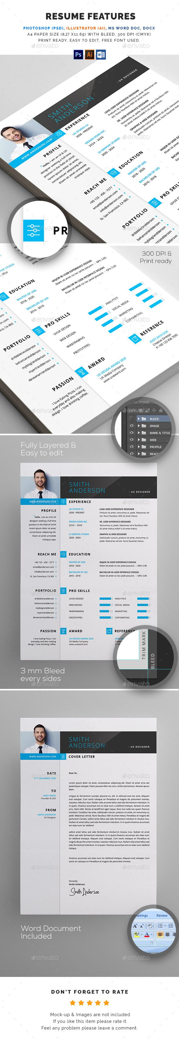 Resume FEATURES:      Easy customizable and editable     300 DPI CMYK Print Ready!     A4 size 8.27 X 11.69 (with Bleed) settings     100% Layered and Full Editable     02 PSD Files included     02 Ai Files included     04 Word Files (DOC & DOCX) included     Help Guide Included     Print Ready Format     Images are not included in the download.  FONT:      Open Sans