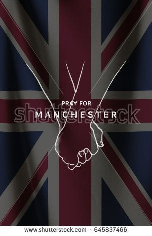 Pray for Manchester word with hand hold together on United Kingdom or British flag background. Illustration concept for hope and helpful to Manchester city after Manchester Arena attack 2017. #prayformanchester #manchester