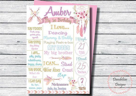 Dream catcher chalkboard Boho 1st birthday Boho party
