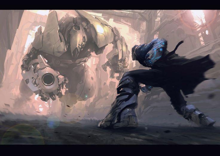 FightRobots, Fight, Concept Art, Scifi, Digital Art, Maxim Revin, Conceptart, Digital Painting, Sci Fi