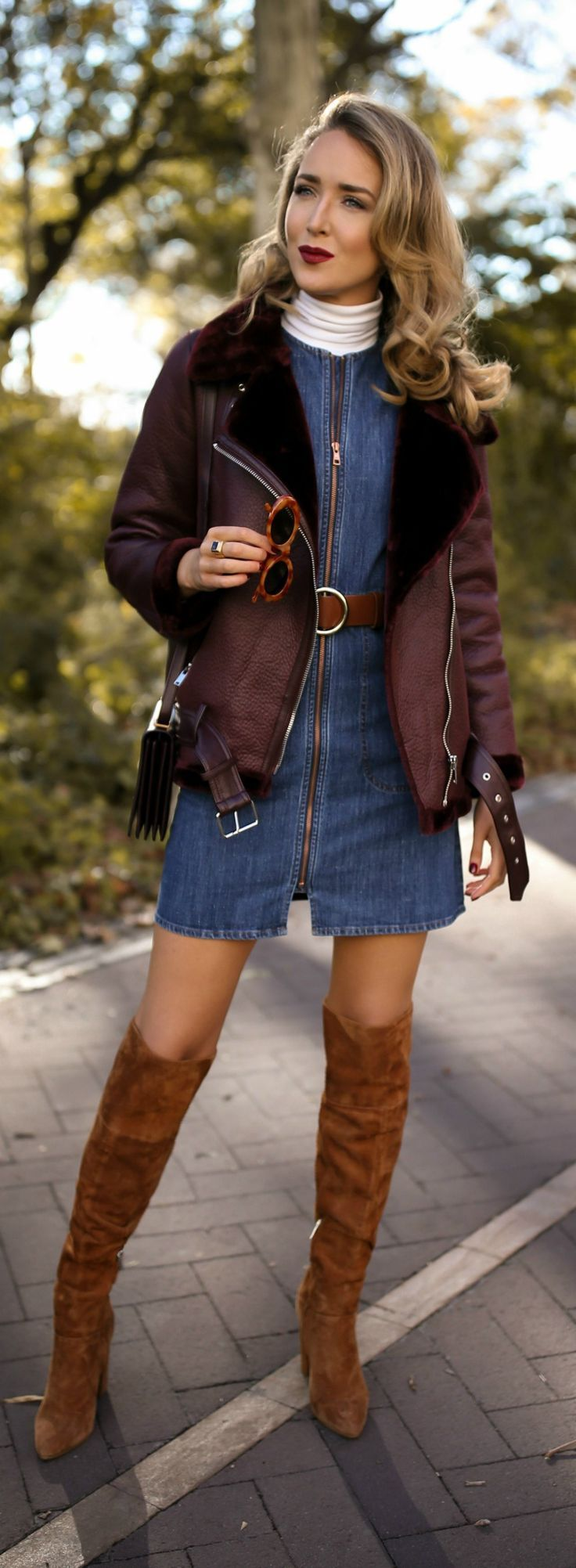 30 DRESSES IN 30 DAYS: Fall Bonfire // Sleeveless zip-up denim dress, white layering turtleneck, brown suede over-the-knee boots, brown leather circle belt, burgundy handbag, burgundy leather moto jacket with faux fur and cat eye sunglasses {See by Chloe, YSL, Three Dots, classic fall style, fall winter 2017, fall bonfire, classic dressing, fashion blogger, street style}