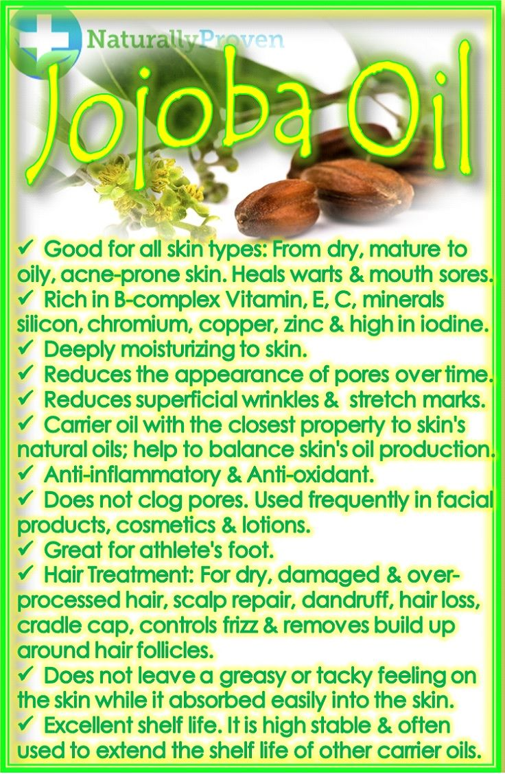Jojoba Oil - (Carrier oil for Essential Oils) Benefits: deep moisturizing, reduces wrinkles and stretch marks, reduces pore size, great for mature aging skin and acne. #reducepores #hairtreatment  http://www.naturallyproven.com/jojoba-oil-carrier-oil-for-essential-oils/