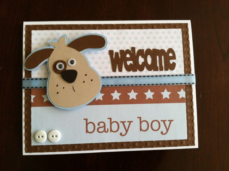 Baby shower card to welcome baby boy using my Cricut and Doodlecharms Life cartridge.
