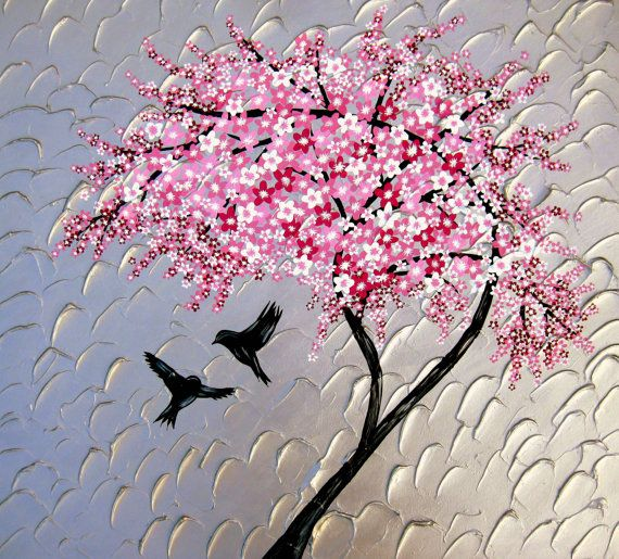 cherry blossom painting huge painting large painting with