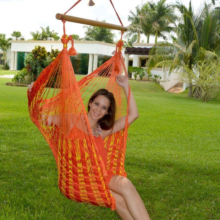 Island Bay Handmade Mayan Hammock Chair Sunset Stripe Nylon - 2 1/2 NYLON SUNSET