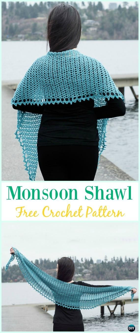Crochet Monsoon Shawl Free Pattern -  Crochet  Women  Shawl  Sweater  Outwear Free 13125617a