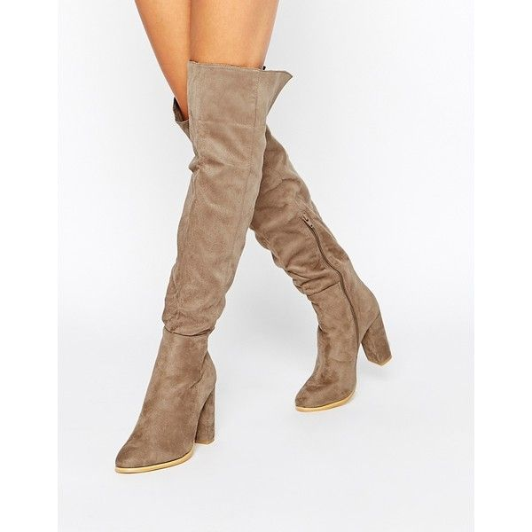 Daisy Street Taupe Block Heel Over The Knee Boots (€77) ❤ liked on Polyvore featuring shoes, boots, taupe, side zipper boots, thigh high boots, over-knee boots, high heel boots and almond toe boots