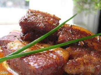 豚バラのバルサミコ煮/調味料はお肉のgに合わせる。炒めたズッキーニとレンチン玉ねぎ加えた。