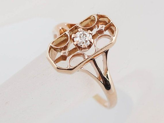 Vintage rose gold diamond engagement ring, $580. A great idea for those who love non-traditional engagement rings. | Budget Friendly Engagement Rings Under $1000