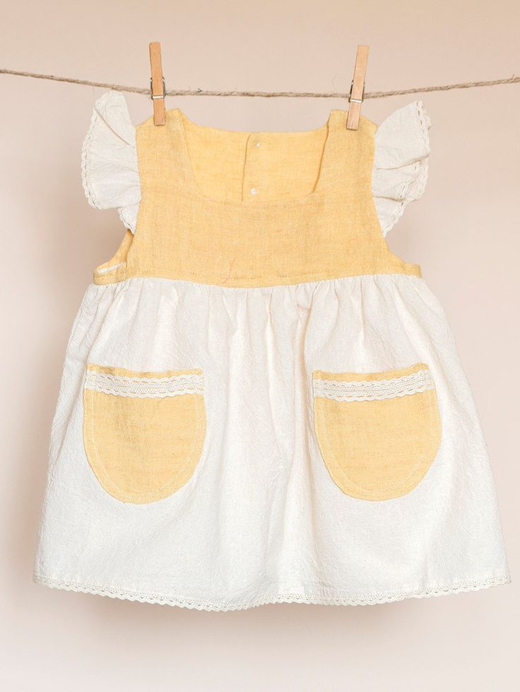 Girls natural cream linen dress with frill sleeve yellow pockets perl like buttons and lace details 18-24 monts by TheElfShopDesigns on Etsy
