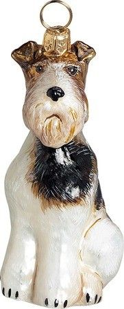 Wire Fox Terrier Dog - The Pet Set Blown Glass European Christmas Ornaments by Joy to the World