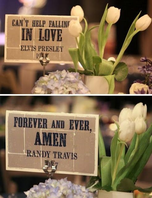 Instead of table numbers you have names of country love songs?!?!? Oh yes.. Print lyrics on personalized napkins to match! #itsallinthedetails #countrywedding www.napkinspersonalized.com