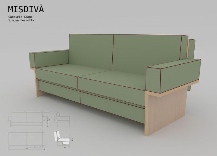Misdivà è un concept di mobile trasformabile. E' un divano quando il futon riveste la struttura lignea realizzata in multistrato di pioppo. E' una panca ergonomica + letto/futon quando il rivestimento si svincola dalla struttura e, mediante successivi e agevoli ribaltamenti, si stende sul pavimento. I cuscini sono costituiti da un'imbottitura in poliuretano espanso flessibile (cm 14) rivestita da  un tessuto di cotone variamente colorato. Le cuciture sono rifinite mediante un cordolo in ...