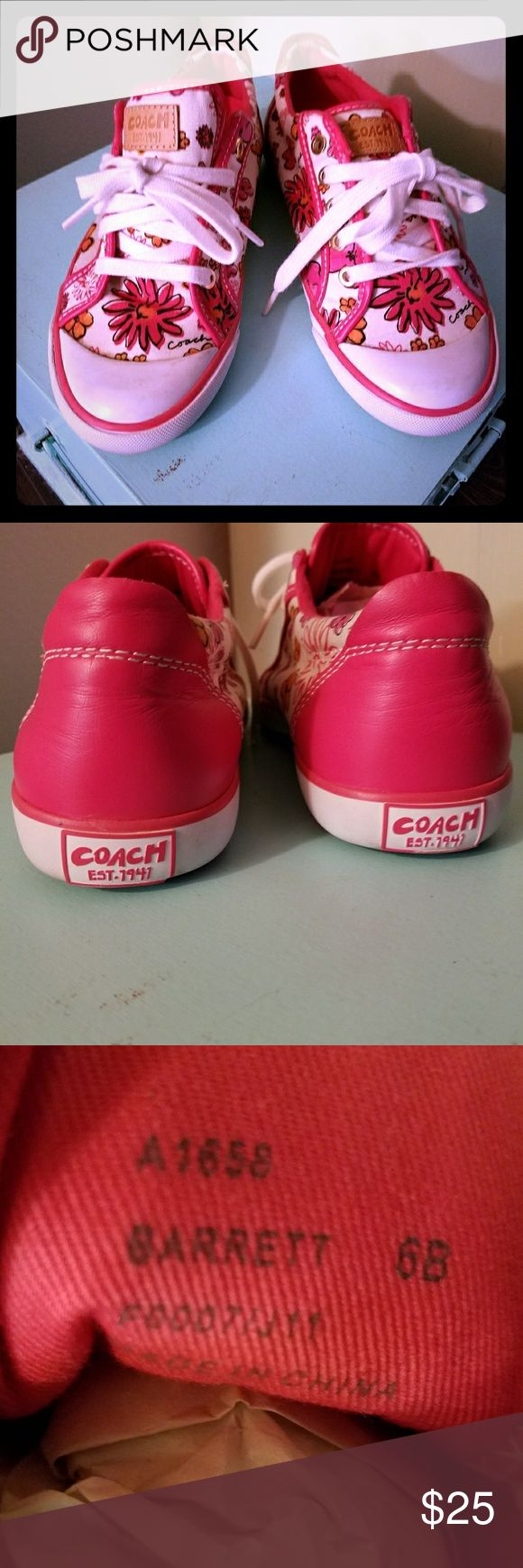 COACH tennis shoes PINK These are almost new Coach Barret style Tennis Shoes! Pink leather, white canvas with PINK flowers. Bright white shoe laces and rubber soles.   I purchased 2 pair of shoes at the Vegas COACH store....after wearing 1x, I see they're the wrong size. :(   Cute with jeans, sun dresses, mini skirts! Firm price. TY Coach Shoes Sneakers