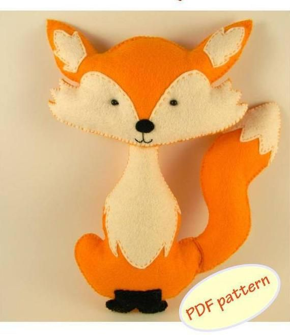 Animal felt PDF pattern Felt Hand Sewing Fox Raccon Owl Hedgehog Plushie toy Pattern woodland nursery decor Instant Download PDF