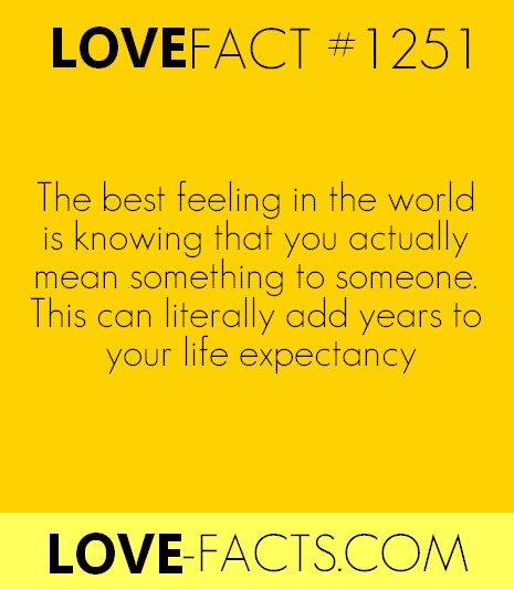 LOVE FACT .1251The best feeling in the world is knowing that you actually mean something to someone. This can literally add years to your life expectancy